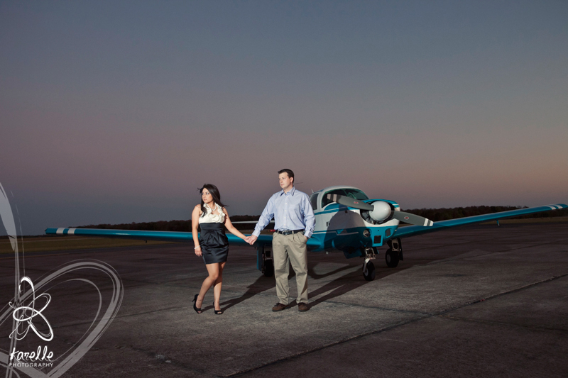 An engagement session in Conroe at the airport, Monica and Troy